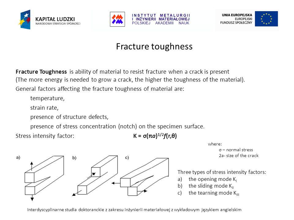 Interdyscyplinarne studia doktoranckie z zakresu inżynierii materiałowej z wykładowym językiem angielskim Fracture Toughness is ability of material to resist fracture when a crack is present (The more energy is needed to grow a crack, the higher the toughness of the material).