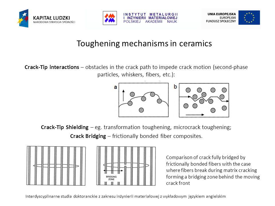Interdyscyplinarne studia doktoranckie z zakresu inżynierii materiałowej z wykładowym językiem angielskim Crack-Tip interactions – obstacles in the crack path to impede crack motion (second-phase particles, whiskers, fibers, etc.): a.Crack Bowing b.Crack Deflection Crack-Tip Shielding – eg.