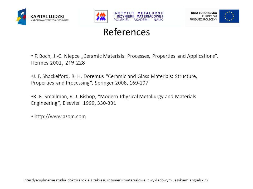 Interdyscyplinarne studia doktoranckie z zakresu inżynierii materiałowej z wykładowym językiem angielskim References P.