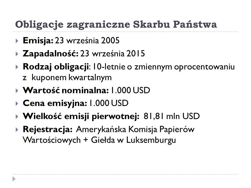 Obligacje zagraniczne Skarbu Państwa  Emisja: 23 września 2005  Zapadalność: 23 września 2015  Rodzaj obligacji: 10-letnie o zmiennym oprocentowaniu z kuponem kwartalnym  Wartość nominalna: 1.000 USD  Cena emisyjna: 1.000 USD  Wielkość emisji pierwotnej: 81,81 mln USD  Rejestracja: Amerykańska Komisja Papierów Wartościowych + Giełda w Luksemburgu