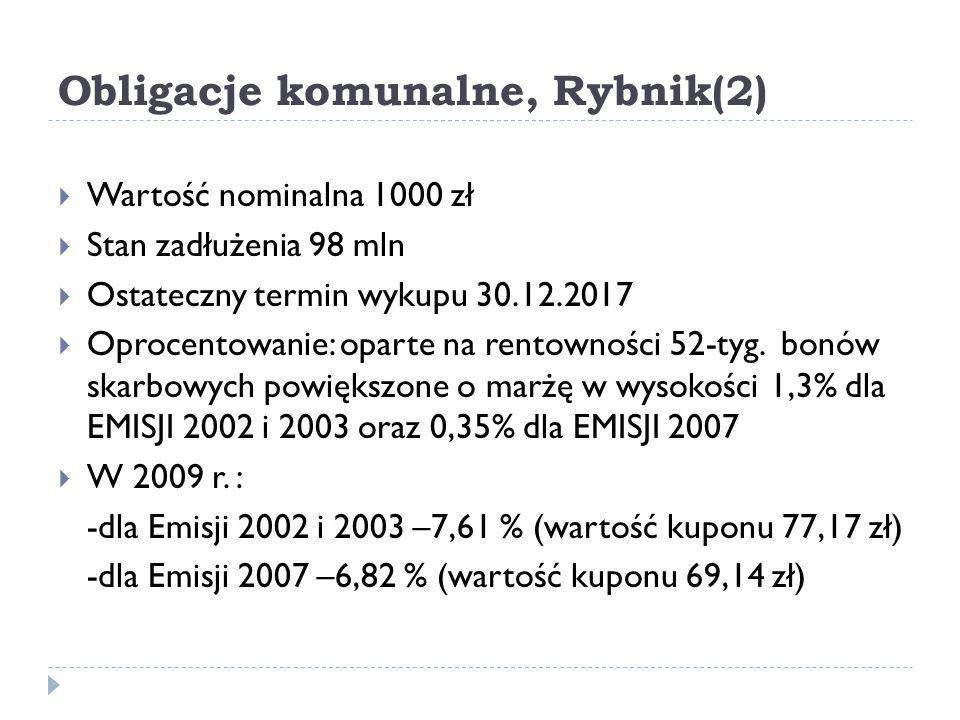 Obligacje komunalne, Rybnik(2)  Wartość nominalna 1000 zł  Stan zadłużenia 98 mln  Ostateczny termin wykupu 30.12.2017  Oprocentowanie: oparte na rentowności 52-tyg.