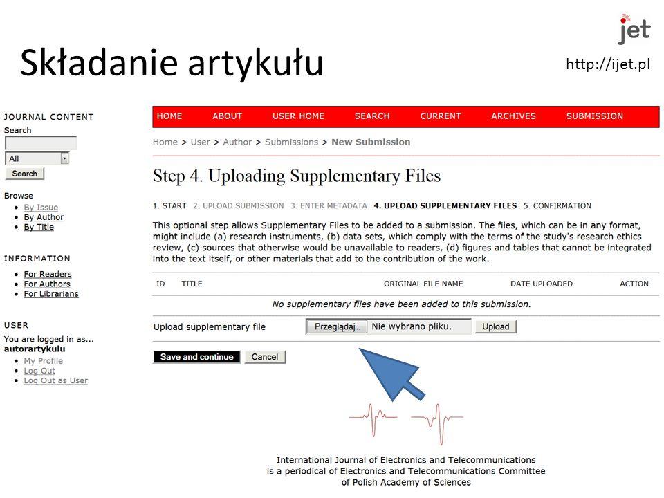 http://ijet.pl Składanie artykułu