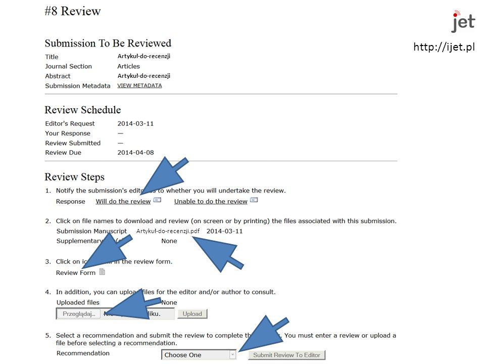 http://ijet.pl Warszawa 2014-03-11 Seminarium inauguracyjne nowej kadencji Kwartalnika KEiT PAN IJET Artykuł-do-recenzji Artykuł-do-recenzji.pdf