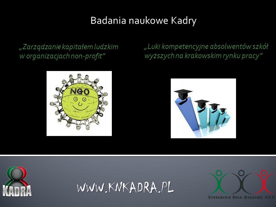 """Badania naukowe Kadry WWW.KNKADRA.PL """"Zarządzanie kapitałem ludzkim w organizacjach non-profit"""" """"Luki kompetencyjne absolwentów szkół wyższych na krak"""