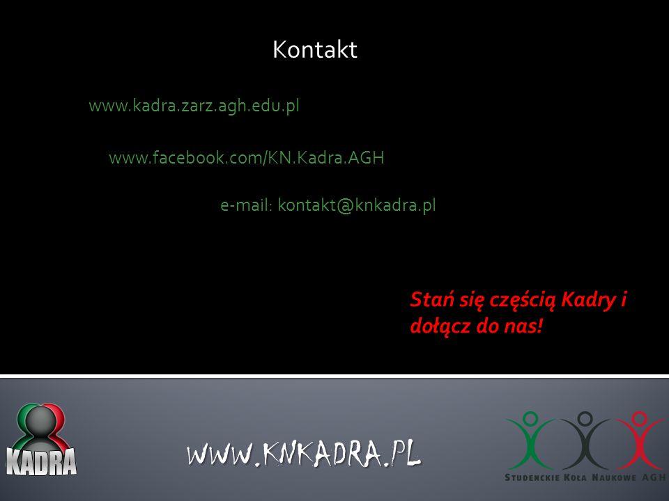 Kontakt WWW.KNKADRA.PL www.kadra.zarz.agh.edu.pl e-mail: kontakt@knkadra.pl Stań się częścią Kadry i dołącz do nas! www.facebook.com/KN.Kadra.AGH