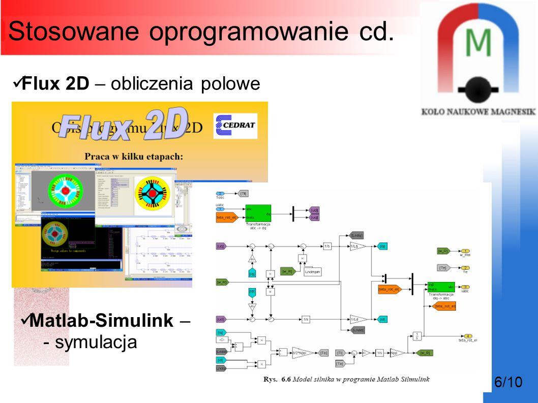 6/10 Stosowane oprogramowanie cd. Flux 2D – obliczenia polowe Matlab-Simulink – - symulacja