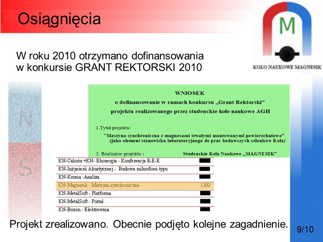 Osiągnięcia W roku 2010 otrzymano dofinansowania w konkursie GRANT REKTORSKI 2010 9/10 Projekt zrealizowano. Obecnie podjęto kolejne zagadnienie.