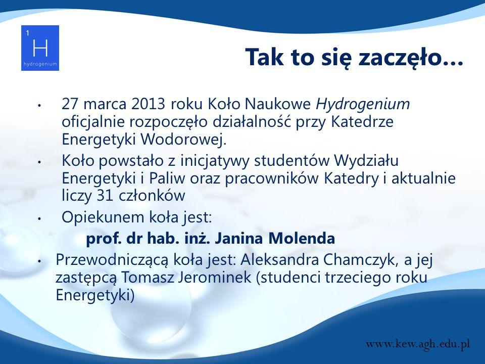 Tak to się zaczęło… 27 marca 2013 roku Koło Naukowe Hydrogenium oficjalnie rozpoczęło działalność przy Katedrze Energetyki Wodorowej. Koło powstało z