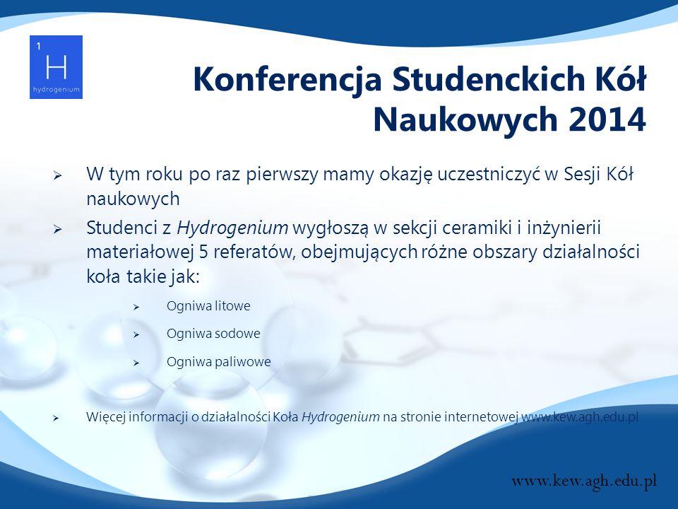 Konferencja Studenckich Kół Naukowych 2014  W tym roku po raz pierwszy mamy okazję uczestniczyć w Sesji Kół naukowych  Studenci z Hydrogenium wygłos