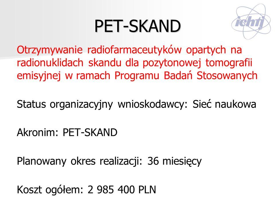 PET-SKAND Otrzymywanie radiofarmaceutyków opartych na radionuklidach skandu dla pozytonowej tomografii emisyjnej w ramach Programu Badań Stosowanych S