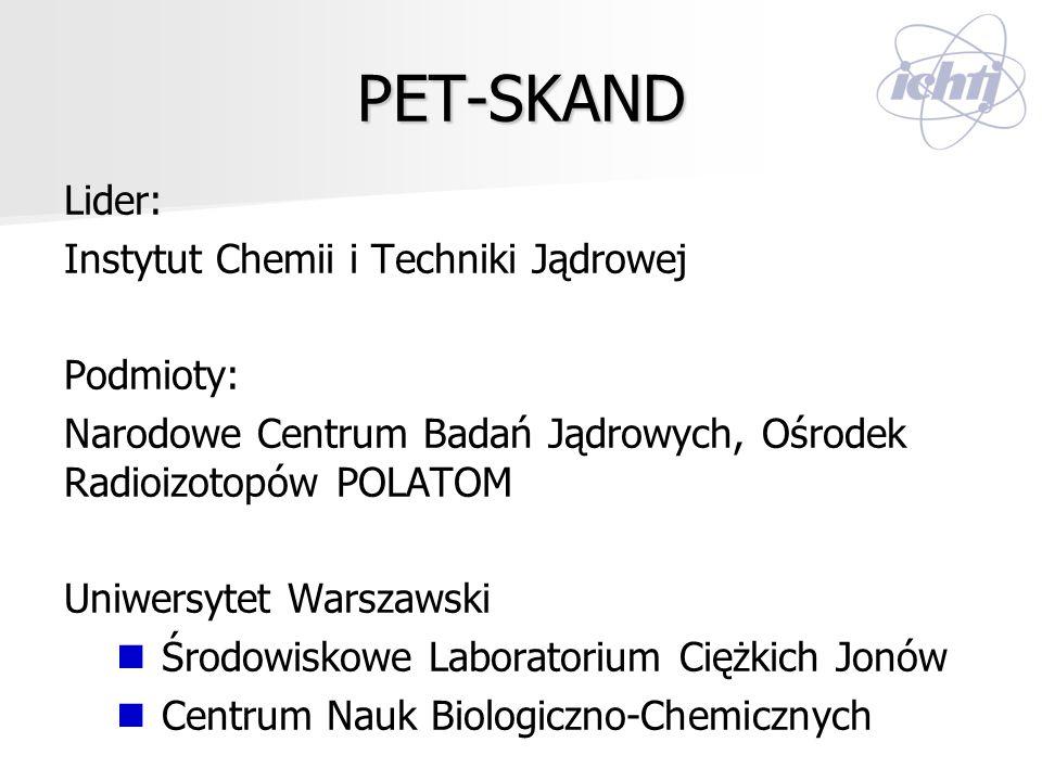PET-SKAND Lider: Instytut Chemii i Techniki Jądrowej Podmioty: Narodowe Centrum Badań Jądrowych, Ośrodek Radioizotopów POLATOM Uniwersytet Warszawski
