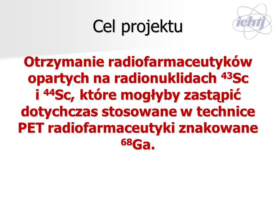 Cel projektu Otrzymanie radiofarmaceutyków opartych na radionuklidach 43 Sc i 44 Sc, które mogłyby zastąpić dotychczas stosowane w technice PET radiof