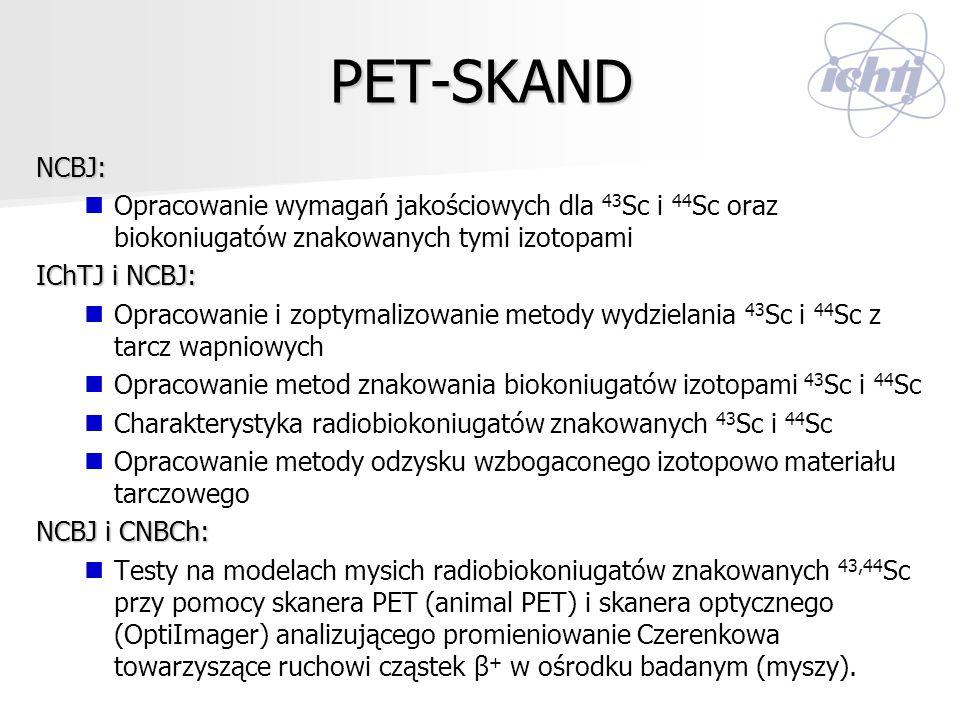 PET-SKAND NCBJ: Opracowanie wymagań jakościowych dla 43 Sc i 44 Sc oraz biokoniugatów znakowanych tymi izotopami IChTJ i NCBJ: Opracowanie i zoptymali