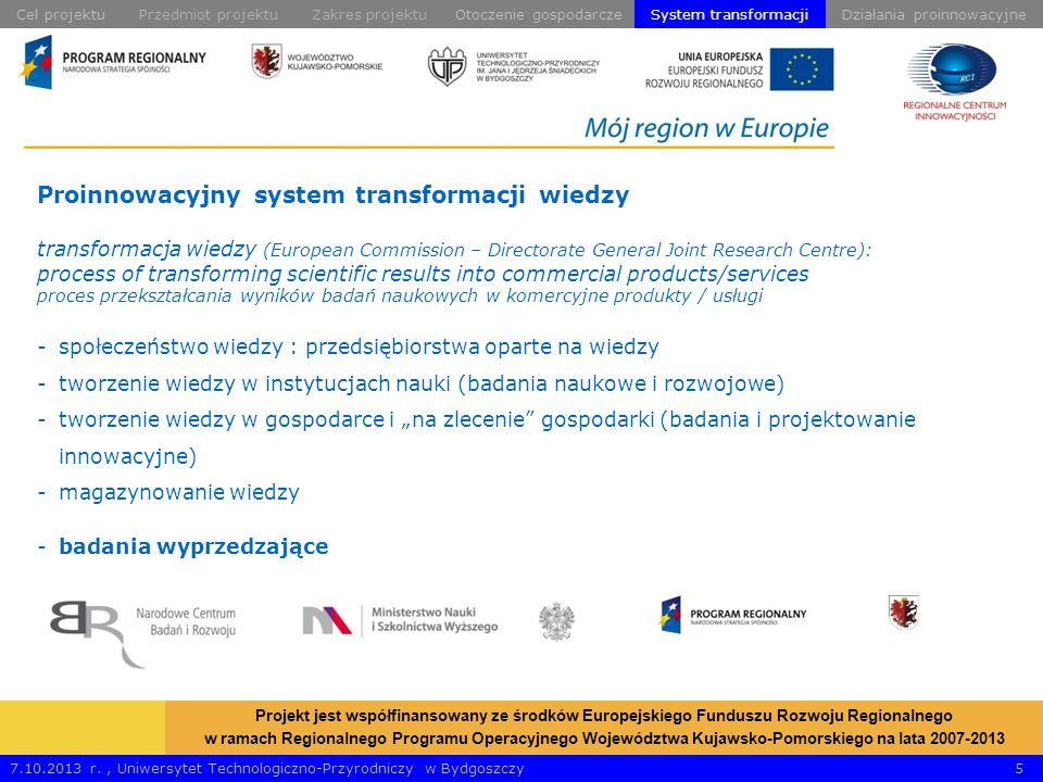 """Proinnowacyjny system transformacji wiedzy transformacja wiedzy (European Commission – Directorate General Joint Research Centre): process of transforming scientific results into commercial products/services proces przekształcania wyników badań naukowych w komercyjne produkty / usługi -społeczeństwo wiedzy : przedsiębiorstwa oparte na wiedzy -tworzenie wiedzy w instytucjach nauki (badania naukowe i rozwojowe) -tworzenie wiedzy w gospodarce i """"na zlecenie gospodarki (badania i projektowanie innowacyjne) -magazynowanie wiedzy -badania wyprzedzające 7.10.2013 r., Uniwersytet Technologiczno-Przyrodniczy w Bydgoszczy 5 Projekt jest współfinansowany ze środków Europejskiego Funduszu Rozwoju Regionalnego w ramach Regionalnego Programu Operacyjnego Województwa Kujawsko-Pomorskiego na lata 2007-2013 Przedmiot projektuOtoczenie gospodarczeDziałania proinnowacyjneZakres projektuCel projektuSystem transformacji"""