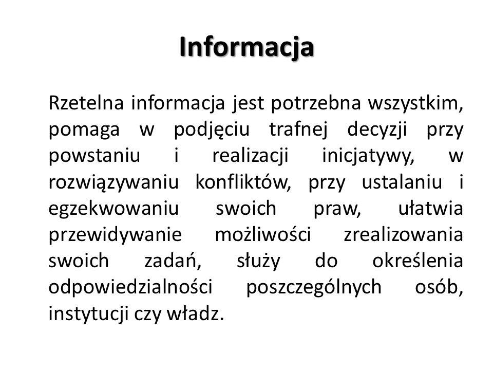 Informacja Rzetelna informacja jest potrzebna wszystkim, pomaga w podjęciu trafnej decyzji przy powstaniu i realizacji inicjatywy, w rozwiązywaniu kon