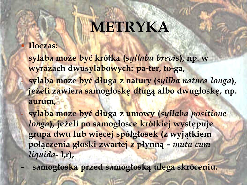 METRYKA Iloczas: - sylaba może być krótka ( syllaba brevis ), np. w wyrazach dwusylabowych: pa-ter, to-ga, - sylaba może być długa z natury ( syllba n