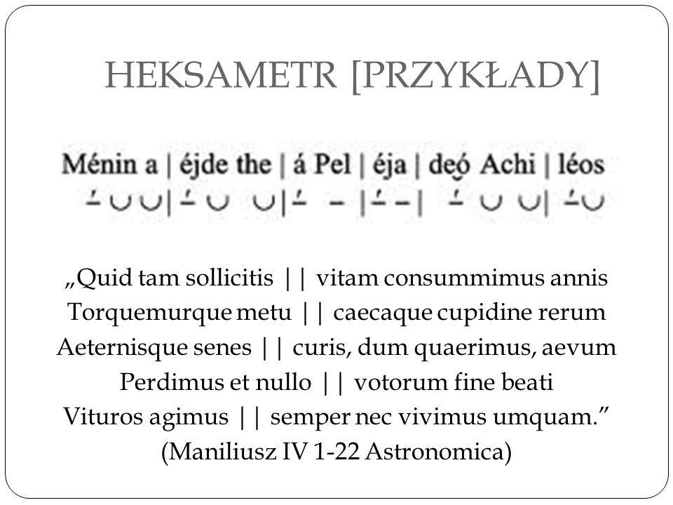 """HEKSAMETR [PRZYKŁADY] """"Quid tam sollicitis    vitam consummimus annis Torquemurque metu    caecaque cupidine rerum Aeternisque senes    curis, dum qua"""
