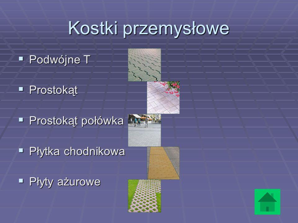 Kostki przemysłowe  Podwójne T  Prostokąt  Prostokąt połówka  Płytka chodnikowa  Płyty ażurowe