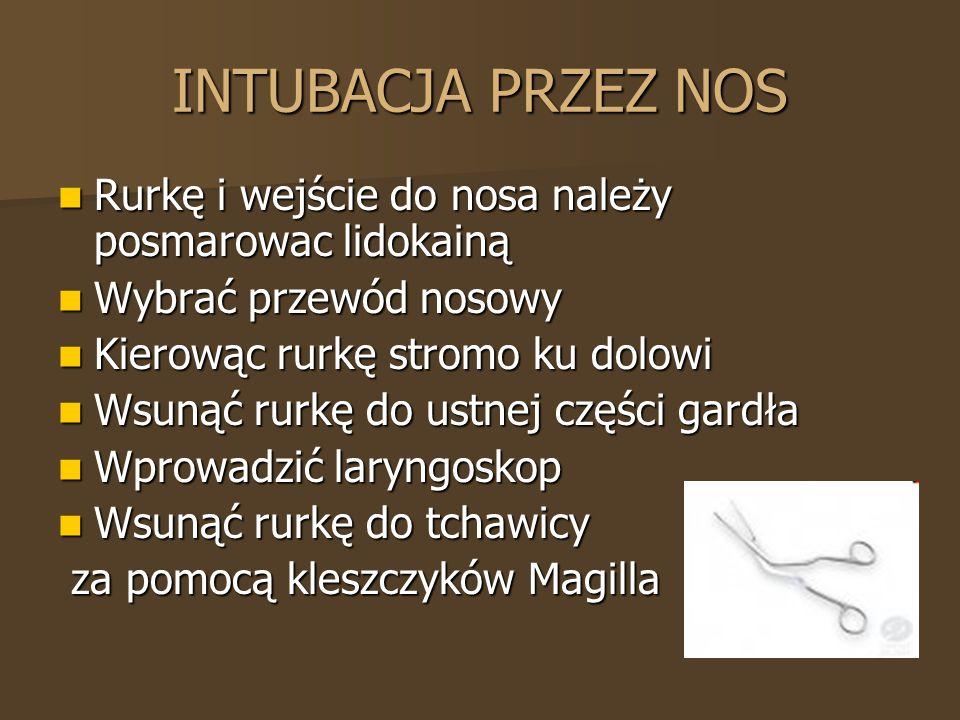 INTUBACJA PRZEZ NOS Rurkę i wejście do nosa należy posmarowac lidokainą Rurkę i wejście do nosa należy posmarowac lidokainą Wybrać przewód nosowy Wybr