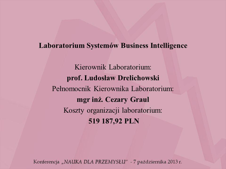 Laboratorium Systemów Business Intelligence Kierownik Laboratorium: prof. Ludosław Drelichowski Pełnomocnik Kierownika Laboratorium: mgr inż. Cezary G