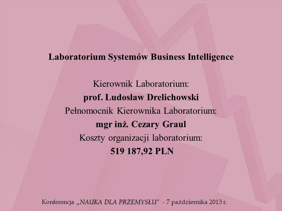 Laboratorium Systemów Business Intelligence Kierownik Laboratorium: prof.