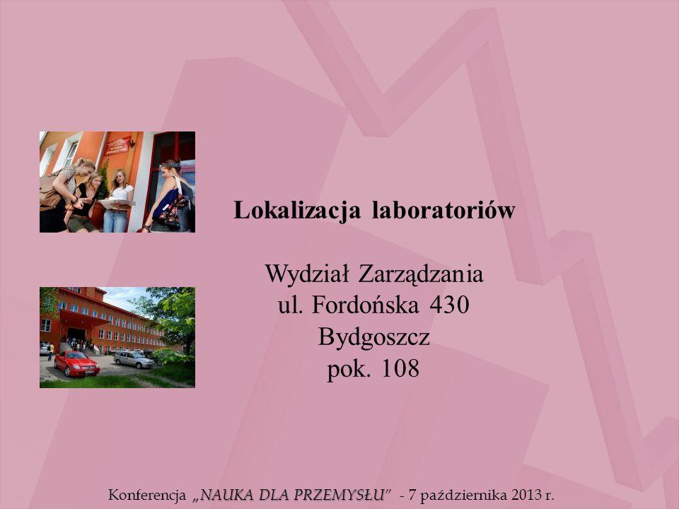 Lokalizacja laboratoriów Wydział Zarządzania ul. Fordońska 430 Bydgoszcz pok. 108