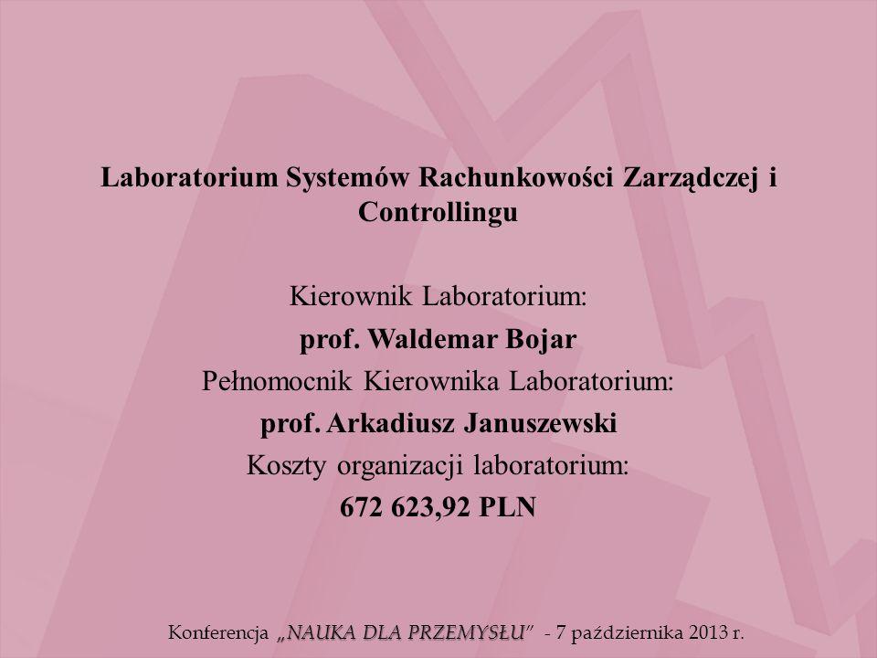 Laboratorium Systemów Rachunkowości Zarządczej i Controllingu Kierownik Laboratorium: prof. Waldemar Bojar Pełnomocnik Kierownika Laboratorium: prof.