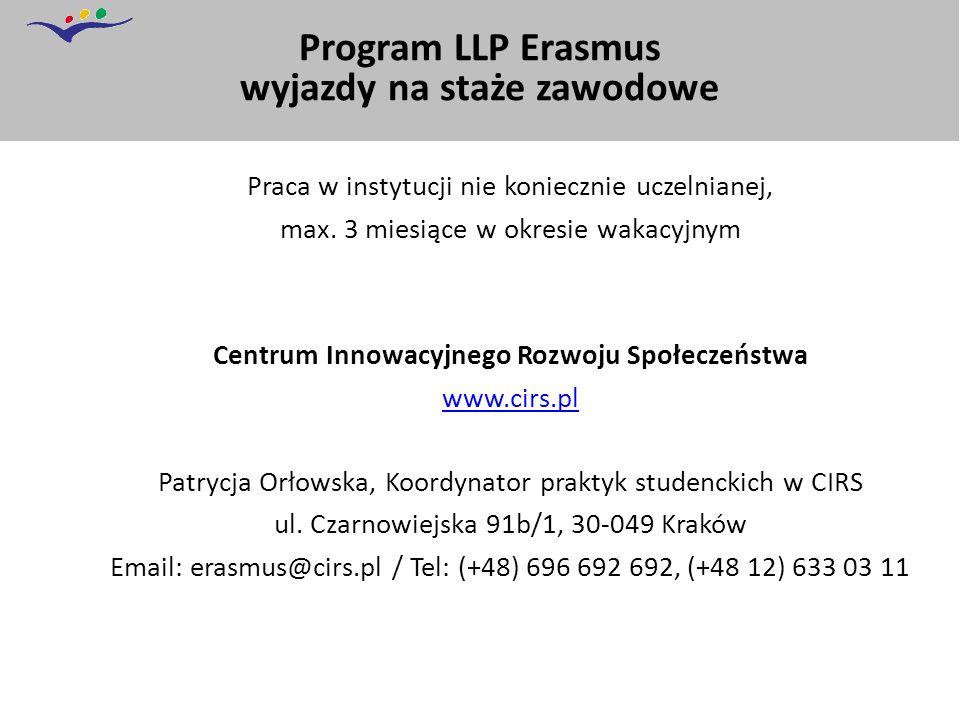 Program LLP Erasmus wyjazdy na staże zawodowe Praca w instytucji nie koniecznie uczelnianej, max.