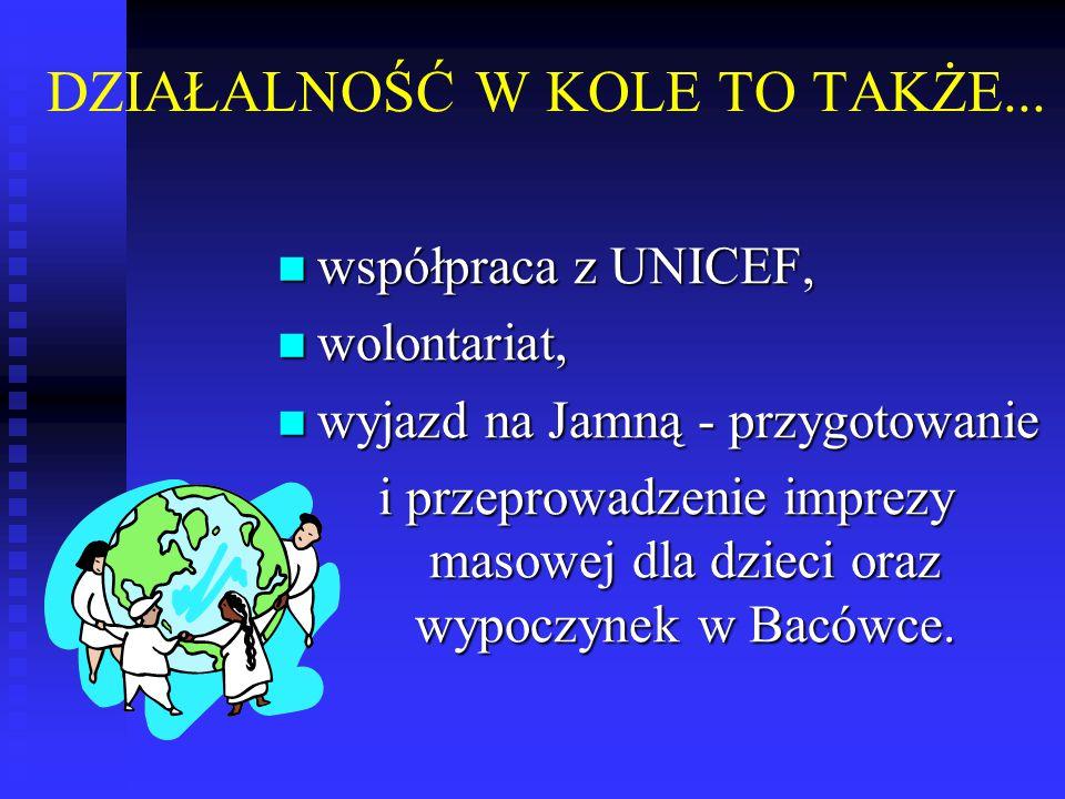 DZIAŁALNOŚĆ W KOLE TO TAKŻE... współpraca z UNICEF, współpraca z UNICEF, wolontariat, wolontariat, wyjazd na Jamną - przygotowanie wyjazd na Jamną - p