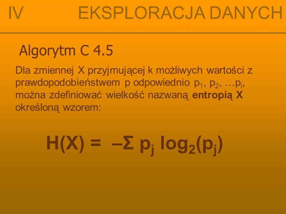 IV EKSPLORACJA DANYCH Algorytm C 4.5 Dla założenia, że możliwy jest podział S, dzielący zbiór T na kilka podzbiorów T 1, T 2, … T k, wówczas ważona suma entropii dla pojedynczych podzbiorów określona jest wzorem: H S (T) = Σ P i H S (T i ) i=1 k