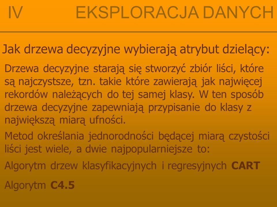 IV EKSPLORACJA DANYCH Algorytm drzew klasyfikacyjnych CART Φ (s│t) = 2 P L P P  (s│t) gdzie:  (s│t) = Σ │ P(j│t L ) – P(j│t P ) │
