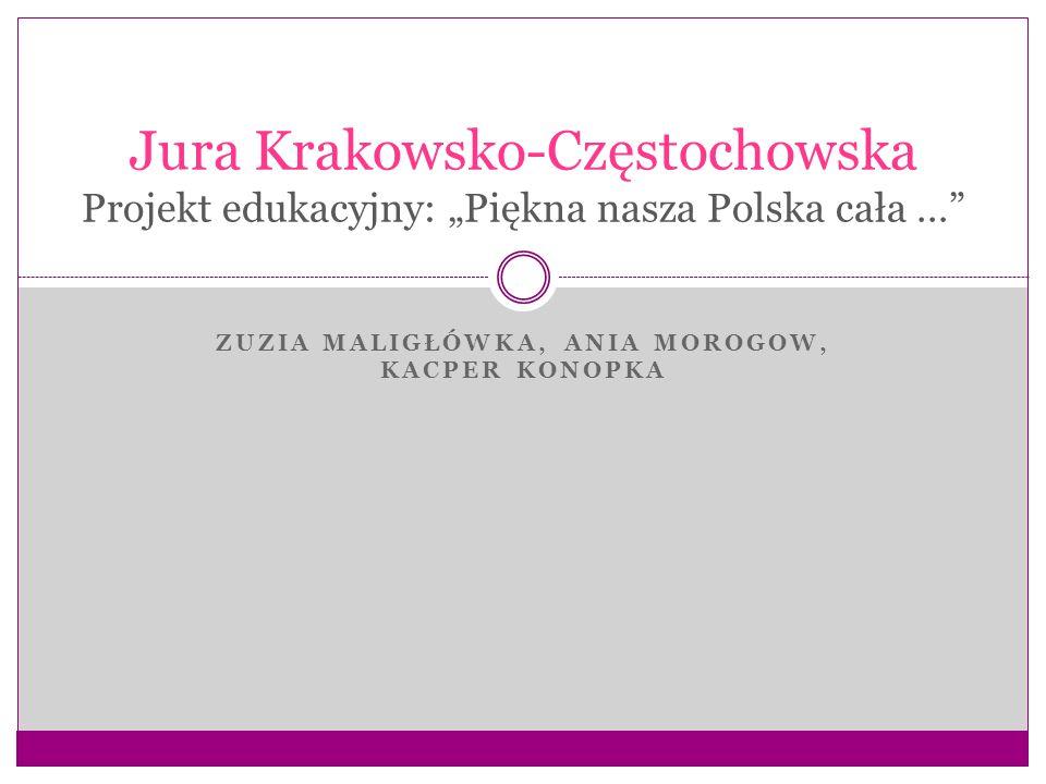 """ZUZIA MALIGŁÓWKA, ANIA MOROGOW, KACPER KONOPKA Jura Krakowsko-Częstochowska Projekt edukacyjny: """"Piękna nasza Polska cała …"""