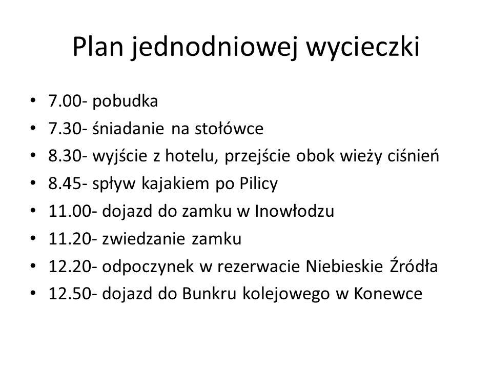Plan jednodniowej wycieczki 7.00- pobudka 7.30- śniadanie na stołówce 8.30- wyjście z hotelu, przejście obok wieży ciśnień 8.45- spływ kajakiem po Pil