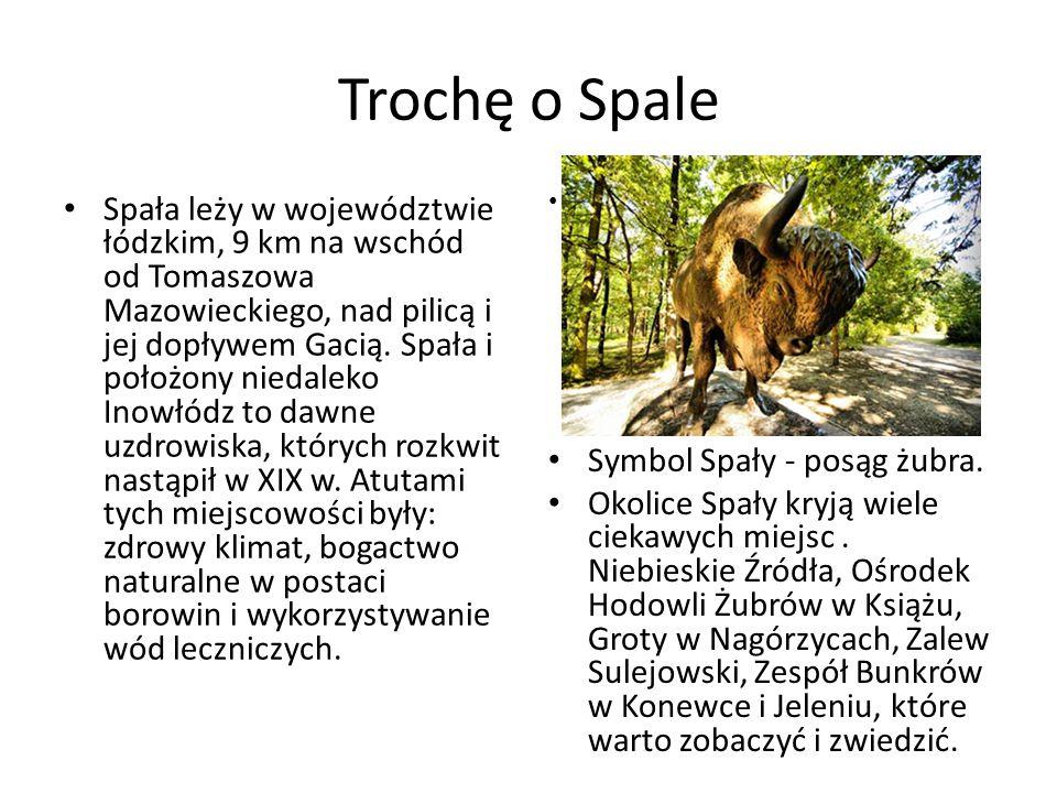 Trochę o Spale Spała leży w województwie łódzkim, 9 km na wschód od Tomaszowa Mazowieckiego, nad pilicą i jej dopływem Gacią. Spała i położony niedale