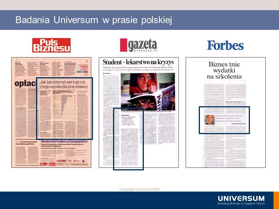 Copyright Universum 2009 Badania Universum w prasie polskiej