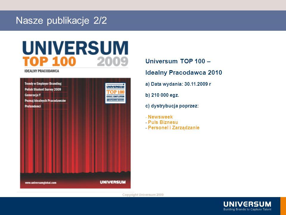 Copyright Universum 2009 Nasze publikacje 2/2 Universum TOP 100 – Idealny Pracodawca 2010 a) Data wydania: 30.11.2009 r b) 210 000 egz. c) dystrybucja