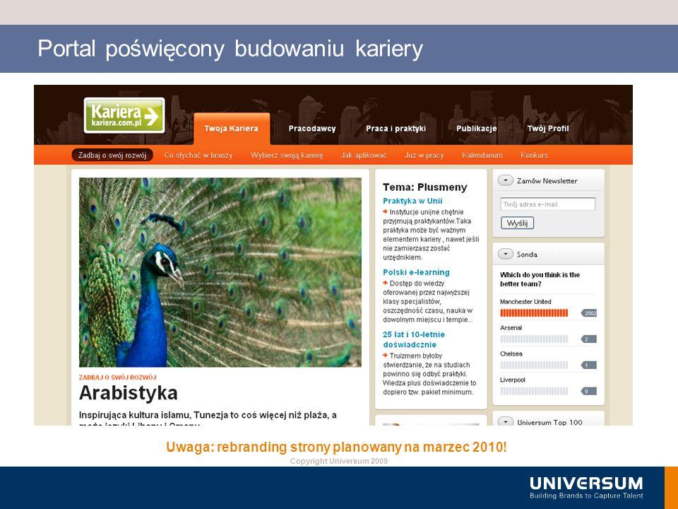 Copyright Universum 2009 Portal poświęcony budowaniu kariery Uwaga: rebranding strony planowany na marzec 2010!