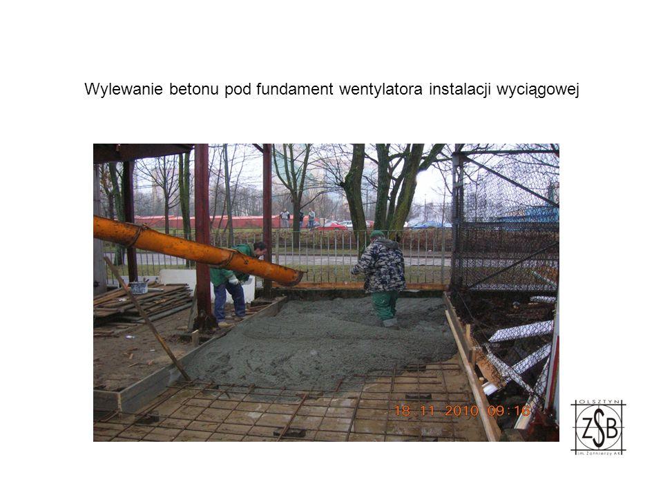 Wylewanie betonu pod fundament wentylatora instalacji wyciągowej