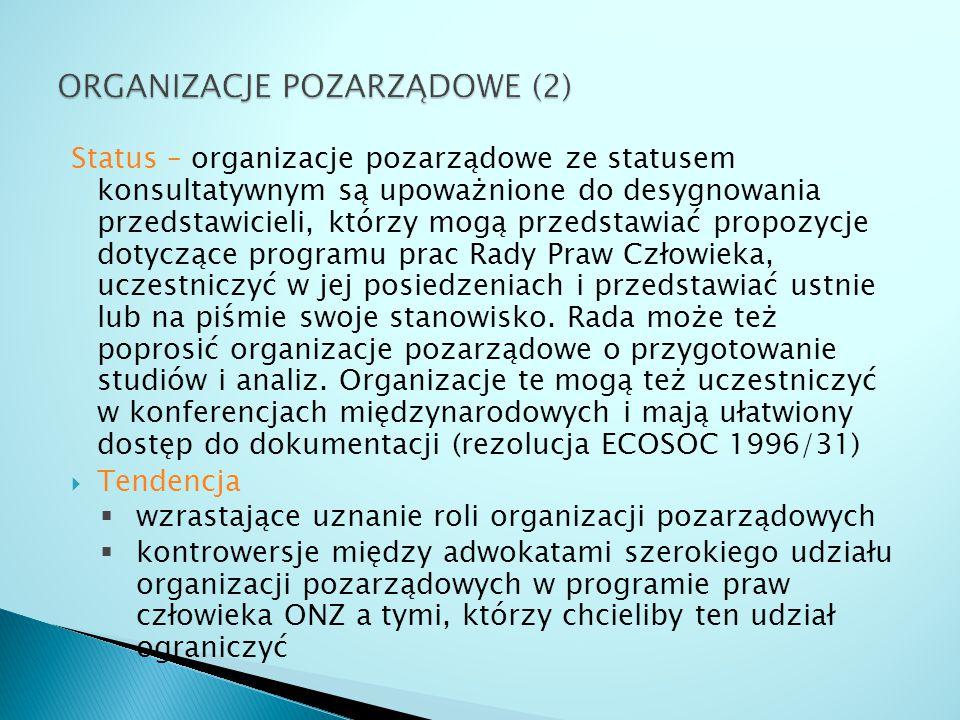 Status – organizacje pozarządowe ze statusem konsultatywnym są upoważnione do desygnowania przedstawicieli, którzy mogą przedstawiać propozycje dotycz