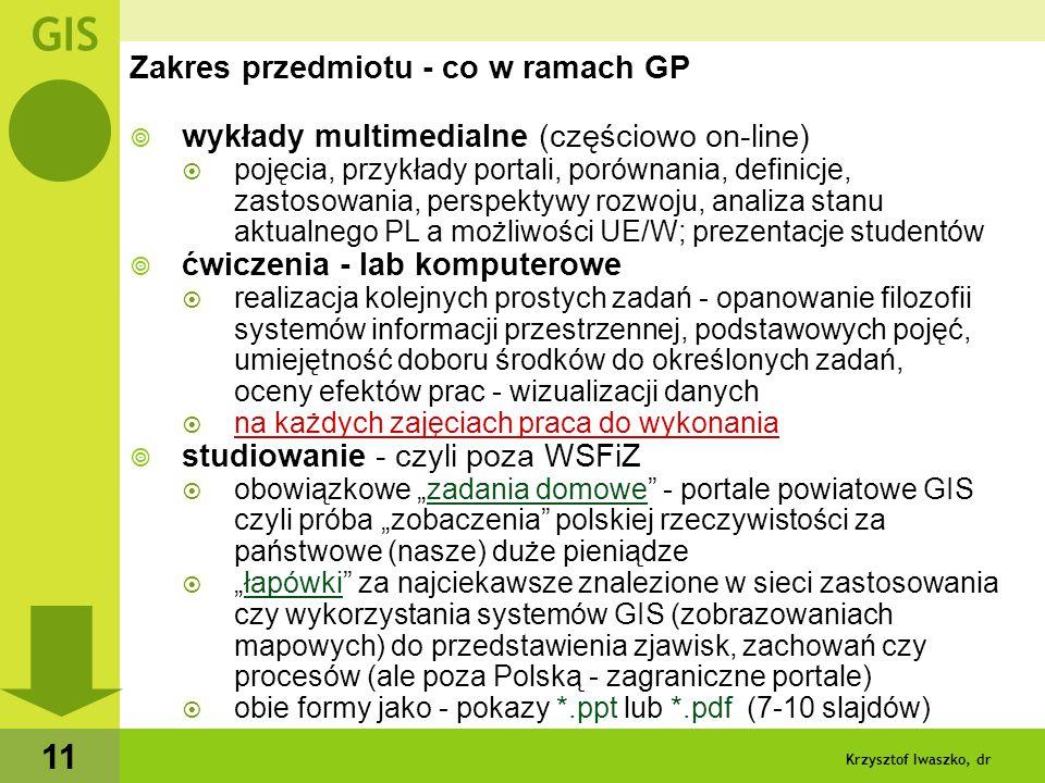 Krzysztof Iwaszko, dr 12 System rozliczeń - zaliczenie przedmiotu  brak kontroli obecności  ale...
