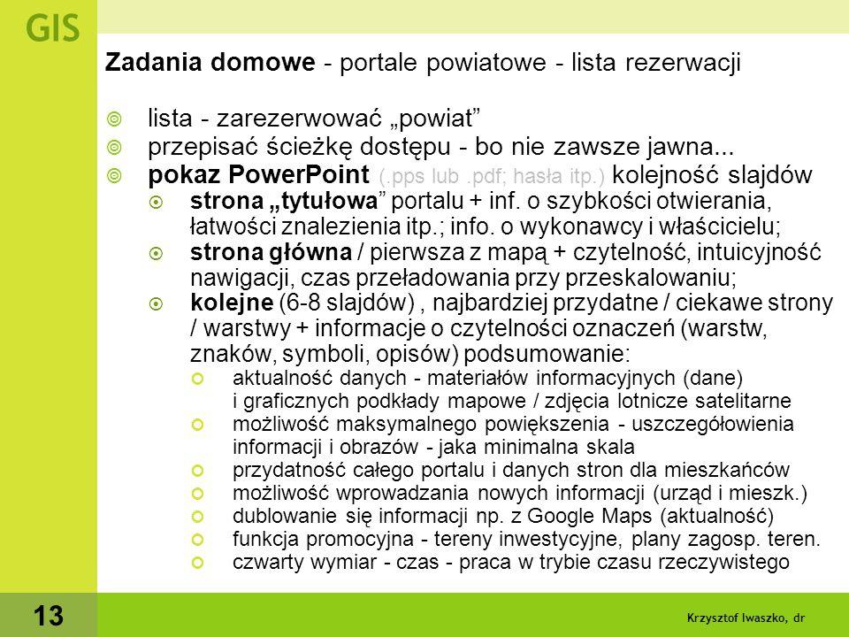 Krzysztof Iwaszko, dr 14 GIS