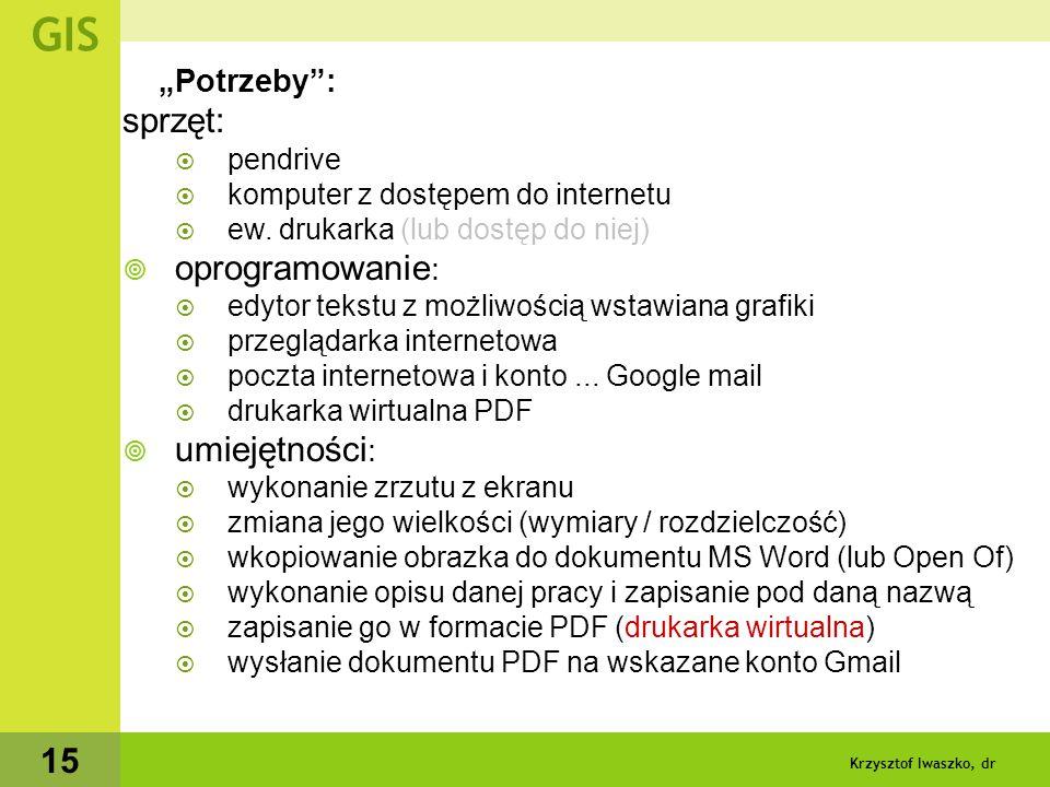 Krzysztof Iwaszko, dr 16 kontakt - wymiana informacji - zaliczanie itp.