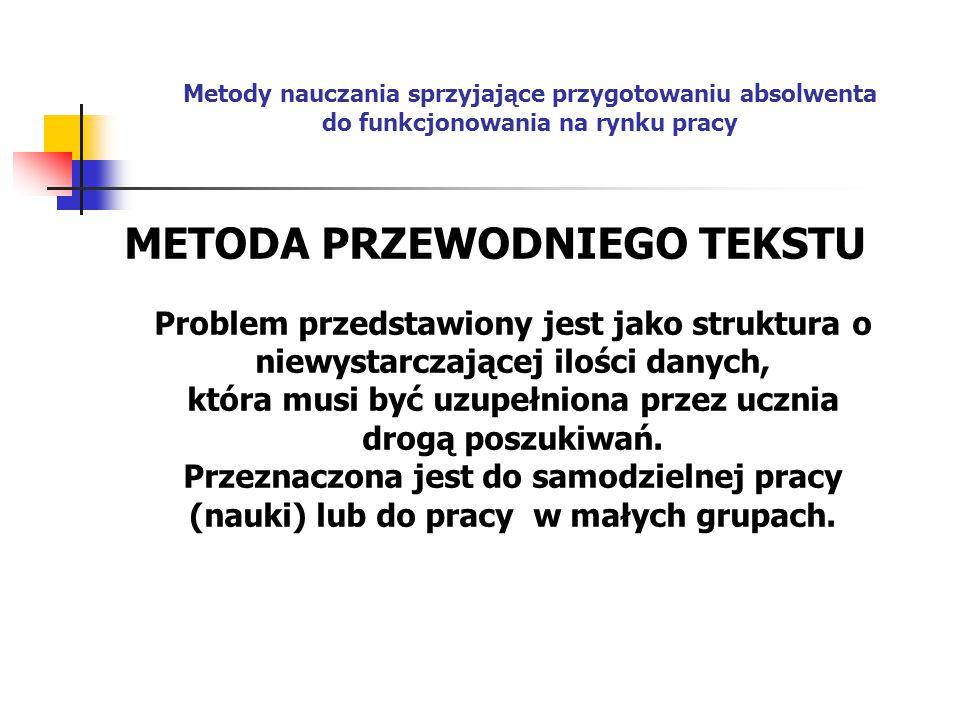 METODA PRZEWODNIEGO TEKSTU Problem przedstawiony jest jako struktura o niewystarczającej ilości danych, która musi być uzupełniona przez ucznia drogą