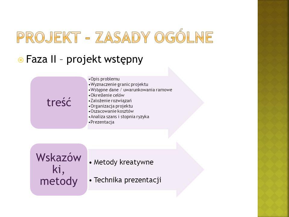  Faza II – projekt wstępny Opis problemu Wyznaczenie granic projektu Wstępne dane / uwarunkowania ramowe Określenie celów Założenie rozwiązań Organiz