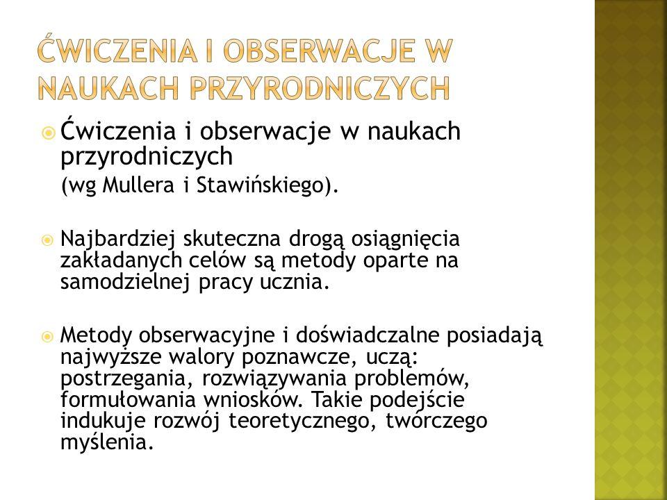  Ćwiczenia i obserwacje w naukach przyrodniczych (wg Mullera i Stawińskiego).  Najbardziej skuteczna drogą osiągnięcia zakładanych celów są metody o