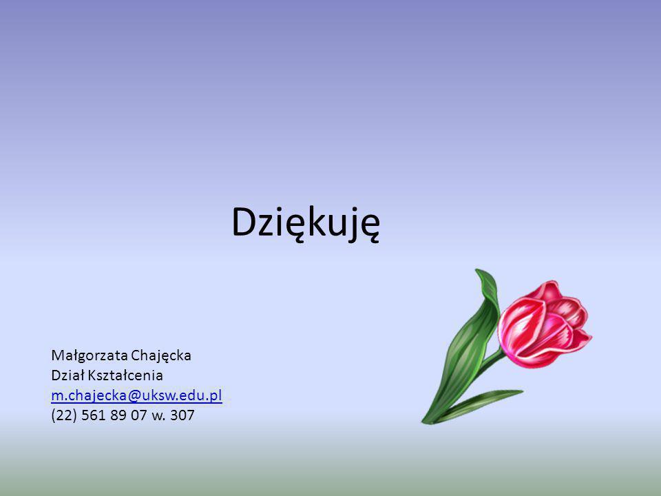 Dziękuję Małgorzata Chajęcka Dział Kształcenia m.chajecka@uksw.edu.pl (22) 561 89 07 w. 307