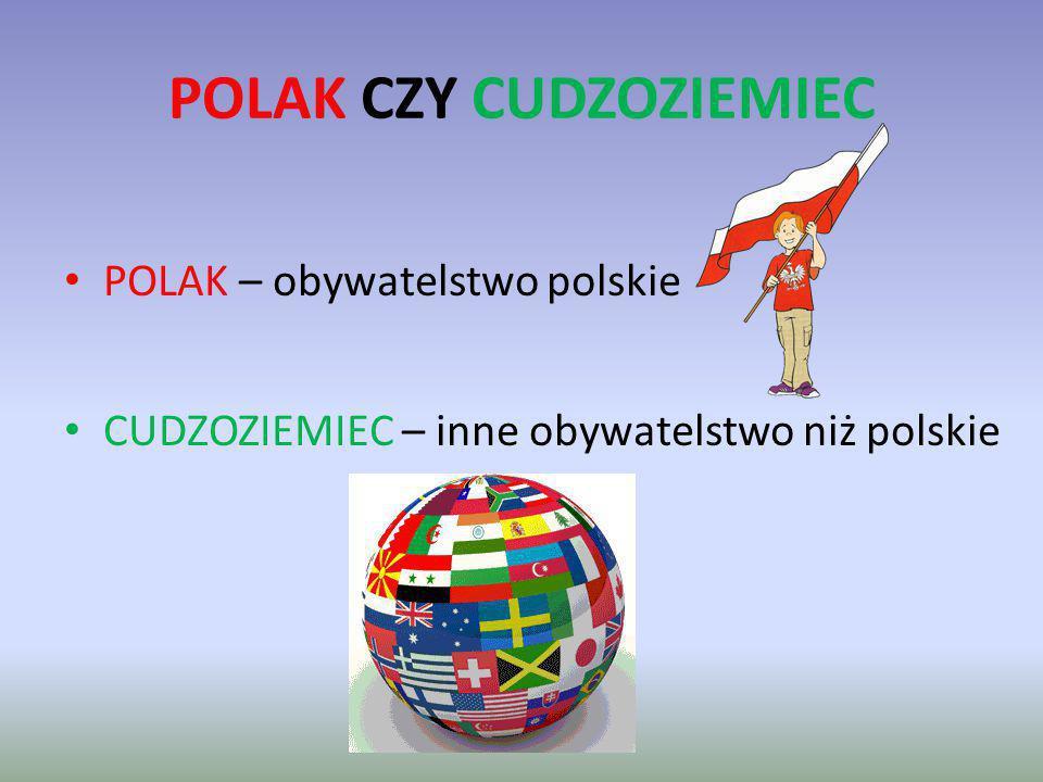 POLAK CZY CUDZOZIEMIEC POLAK – obywatelstwo polskie CUDZOZIEMIEC – inne obywatelstwo niż polskie