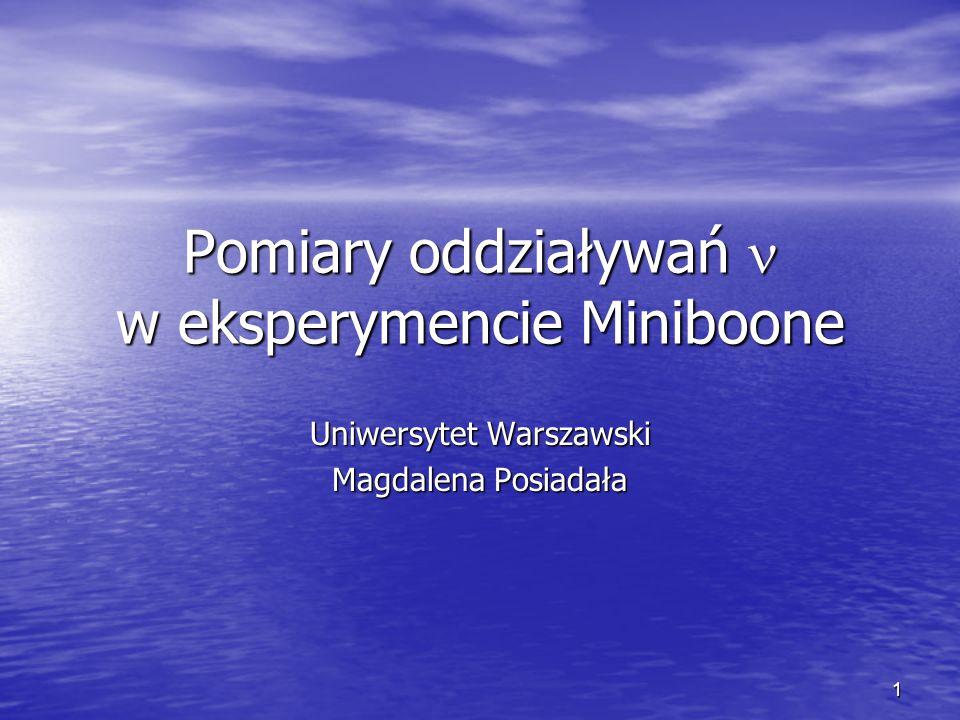 1 Pomiary oddziaływań w eksperymencie Miniboone Uniwersytet Warszawski Magdalena Posiadała