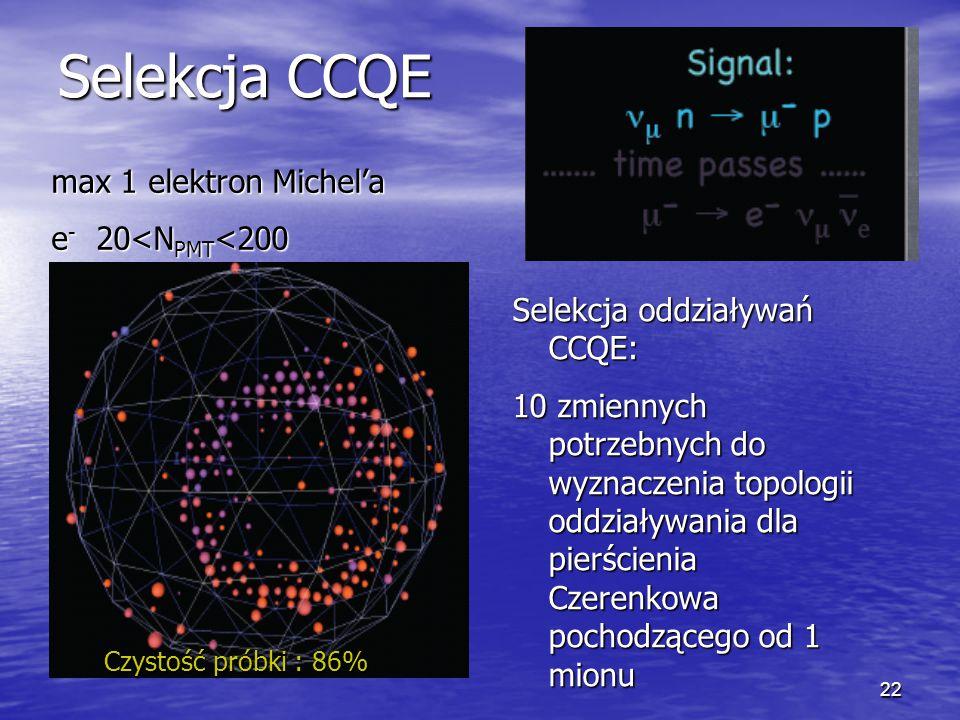 22 Selekcja CCQE max 1 elektron Michel'a e - 20<N PMT <200 Selekcja oddziaływań CCQE: 10 zmiennych potrzebnych do wyznaczenia topologii oddziaływania dla pierścienia Czerenkowa pochodzącego od 1 mionu Czystość próbki : 86%