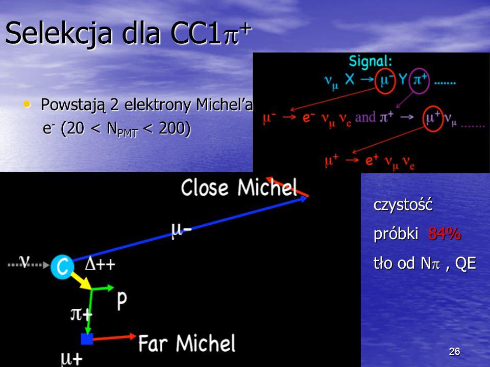 26 Selekcja dla CC1  + Powstają 2 elektrony Michel'a Powstają 2 elektrony Michel'a e - (20 < N PMT < 200) e - (20 < N PMT < 200) czystość próbki 84% tło od N , QE